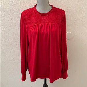 Adrianna Papell red Holiday top blouse XL New NWT